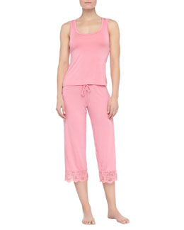 Fleur't Epoque Lace-Back Sleep Tank and Cropped Lace-Cuff Pajama Pants