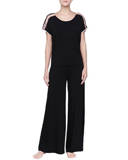 Fleur't Silk/Lace-Trim Top & Wide-Leg Pants