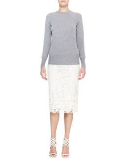 Burberry Prorsum Open-Bow-Back Knit Sweater & Curlicue Embroidered Midi Skirt