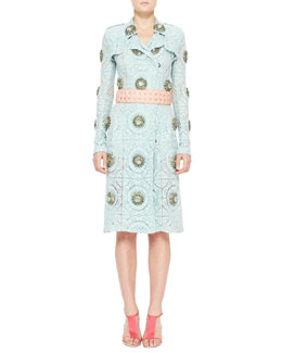 Burberry Prorsum Crystal-Embellished Lace Trench Coat & Translucent Rubber Flower Belt