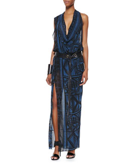 Donna Karan Draped V-Neck Sleeveless Dress, Two-Piece Puzzle Choker Necklace & Hand-Forged Cuff
