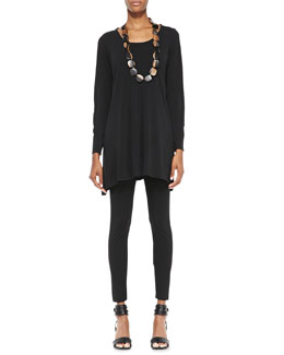 Eileen Fisher Silk Jersey Long-Sleeve Tunic & Viscose Jersey Ankle Leggings, Petite