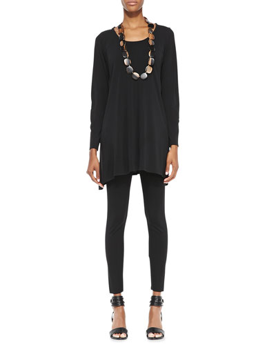 Eileen Fisher Silk Jersey Long-Sleeve Tunic & Viscose Jersey Ankle Leggings, Petite