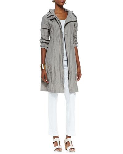 Eileen Fisher Rumpled Hooded Long Coat,  Organic Slim Tank & Stretch Slim Twill Trousers