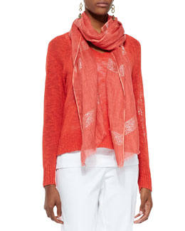 Eileen Fisher Melange V-Neck Knit Top & Shimmery Striped Scarf