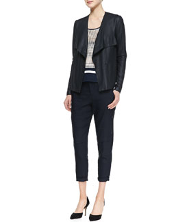 Vince Lightweight Draped Leather Jacket, Printed Slit-Hem Tank & Cropped Linen-Blend Cargo Pants