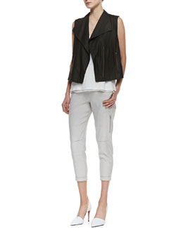 Vince Lightweight Leather Zip Vest, Linen/Silk Layered Tank & Cropped Linen-Blend Cargo Pants