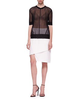 J Brand Ready to Wear Elsa Sheer Short-Sleeve Top and Maryse Notched Crossover Skirt