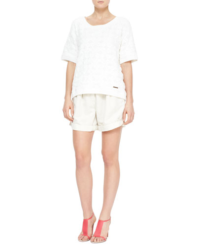 Burberry Brit Short-Sleeve Crochet Knit Top & Tailored Shorts