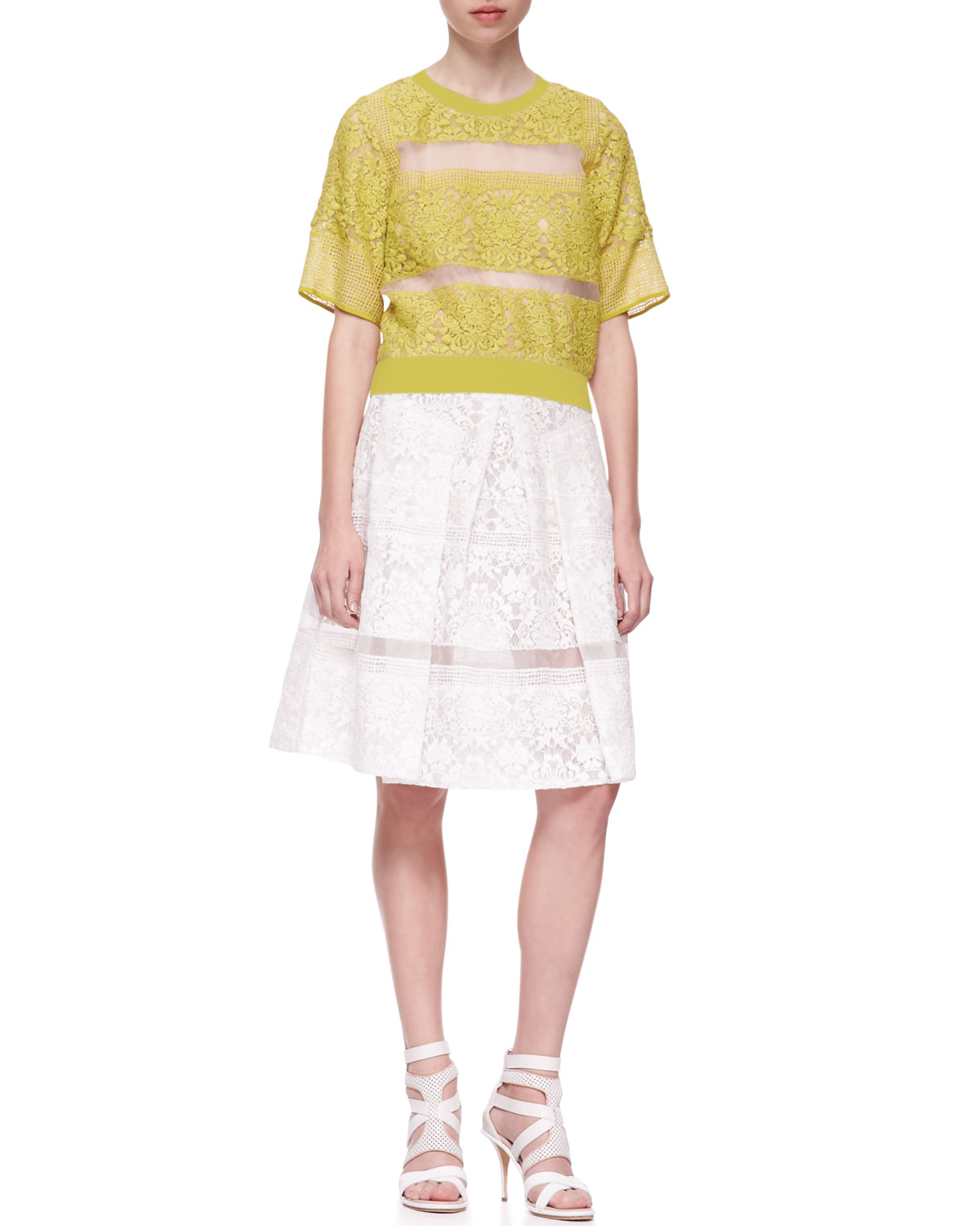 Alice + Olivia Cherrie Embroidered Lace Cardigan, Connely Striped Crop Top & Pia Floral Print Pleated Full Skirt