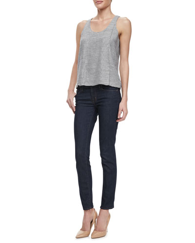 J Brand Jeans Tracey Thin-Stripe Tank & Mid-Rise Impression Skinny Jeans