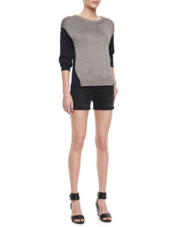 J Brand Ready to Wear Kira Two-Tone Combo Sweater & Leigh Alley Cat High-Rise Shorts