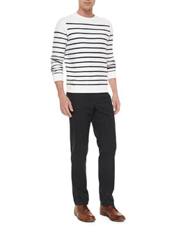 Vince Striped Terry Sweater & Slim-Fit Stretch-Cotton Trousers
