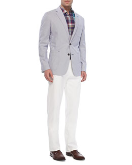Peter Millar Soft Pincord Jacket, Plaid Linen Shirt & Raleigh Washed Flat-Front Pants