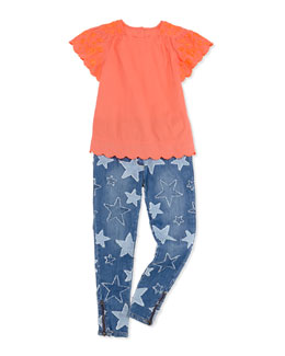 Stella McCartney Amy Embroidered Top & Nina Star-Patch Jeans, Girls' 2-10