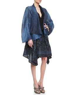 Donna Karan Caftan Jacket, Sleeveless V-Neck Draped Blouse & Printed Pointed Scarf Skirt