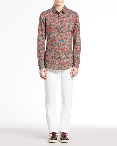 Gucci Multi Floral-Print Long-Sleeve Shirt & Skinny Denim Pants