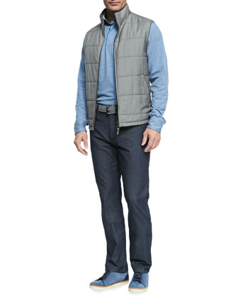 Reversible Zip-Front Vest, Long-Sleeve Melange-Knit Polo & Summer Denim Jeans