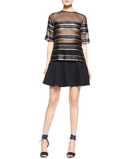 Adam Lippes Striped Sheer Chiffon Tee & Hand-Stitched Flounce Skirt
