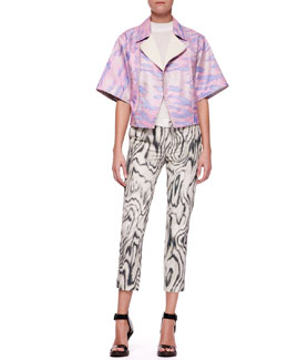 3.1 Phillip Lim Short Kimono-Sleeve Moto Jacket, Cap-Sleeve Silk Top & Classic Printed Pencil Pants