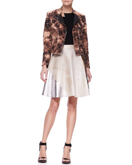 3.1 Phillip Lim Splattered Denim Moto Jacket and Foiled Colorblock Flare Skirt