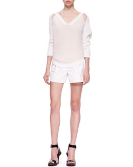 3.1 Phillip Lim Cold Shoulder V-Neck Sweater & Notched Elastic-Back Shorts