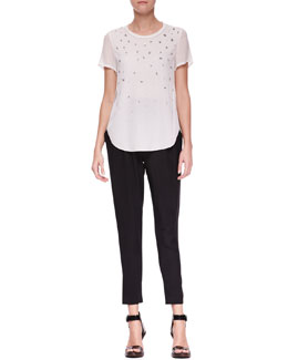3.1 Phillip Lim Meteorite Beaded T-Shirt and Slim Draped Pocket Trousers
