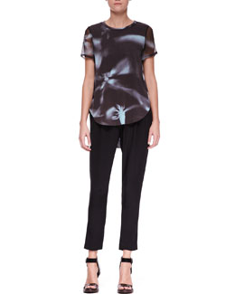 3.1 Phillip Lim Printed Split-Hem T-Shirt and Slim Draped Pocket Trousers