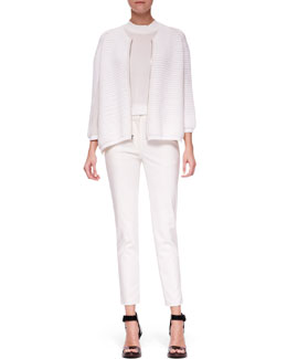 3.1 Phillip Lim Zip-Up Paneled Cardigan, Cap-Sleeve Silk Top & Classic Ankle Pencil Pants