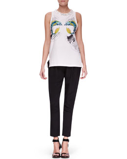 3.1 Phillip Lim Fish-Print Crystal-Neck Top and Slim Draped Pocket Trousers