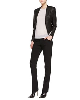 Alice + Olivia Mabel Cropped Leather Jacket, Tran Piped-Trim Tee, White & Olivia Straight-Leg Pants