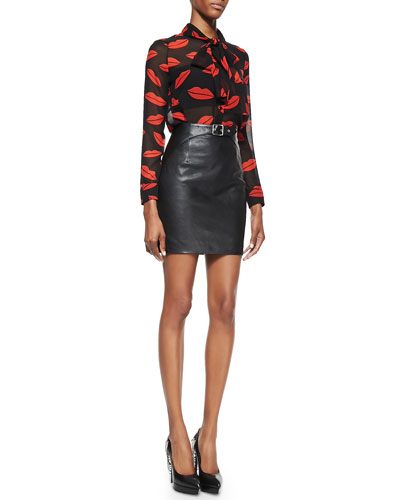 Saint Laurent Lips Georgette Tie Blouse and Buckled Leather Miniskirt