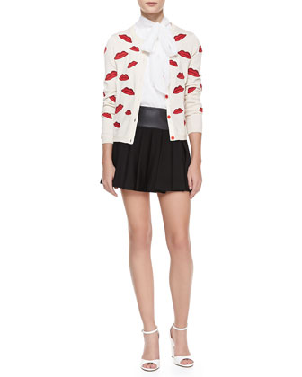 Pout-Lip Print Cardigan, Aleena Ascot Silk Top & Leather-Waist Pleated Skirt