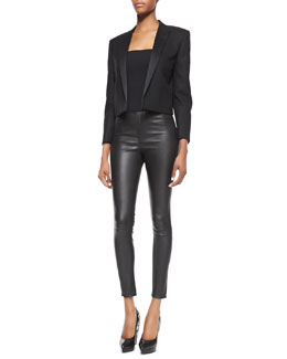 Saint Laurent Satin-Lapel Cropped Blazer and Side-Zip Leather Leggings