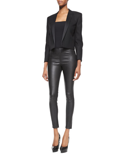 Saint Laurent Satin-Lapel Cropped Blazer and Side-Zip Leather Leggings