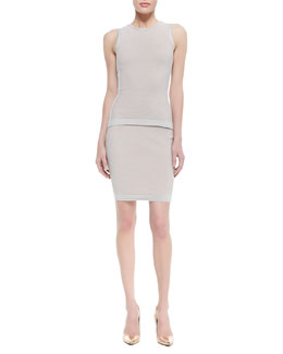 Narciso Rodriguez Paneled Cutout-Back Top and Fitted Paneled Knit Skirt