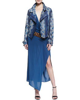 Donna Karan Hand-Painted Python Jacket, Sleeveless V-Neck Wrap Dress & Leather Belt