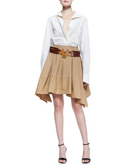 Donna Karan Button-Up Cotton Blouse, Full Pleated Scarf Skirt & Patchwork Puzzle Leather Belt