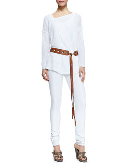 Donna Karan Slouchy Asymmetric Linen Sweater, Puckered Cotton Blend Tank, Seamed Leggings & Leather Tie Belt