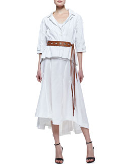 Donna Karan Shrunken Topper, Puckered Cotton Blend Tank, Linen-Silk Skirt & Leather Tie Belt