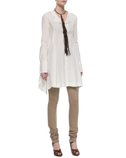 Donna Karan Long-Sleeve Button-Front Tunic, Straight-Leg Body II Pants & Leather Choker Necklace with Long Tassel