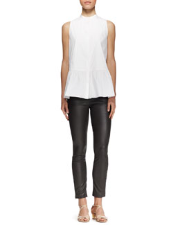 THE ROW Sleeveless Buttoned Peplum Shirt and Jellerton Leather Ankle Pants