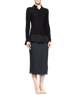 THE ROW Lauren Open-Knit Sweater, Corinne Pleat-Back Blouse & Ahbria Crinkled Midi Skirt