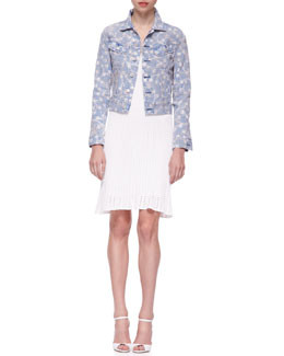 Ralph Lauren Black Label Mason Printed Denim Trucker Jacket & Short-Sleeve Engineered Mesh Knit Sheath Dress