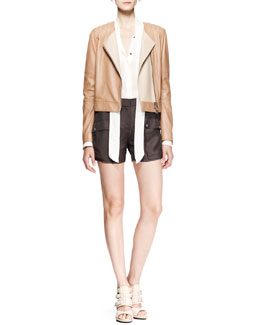 Belstaff Kenswick Short Moto Jacket, Hammond Scarf-Tie Blouse & Neston Twill Pocket Shorts