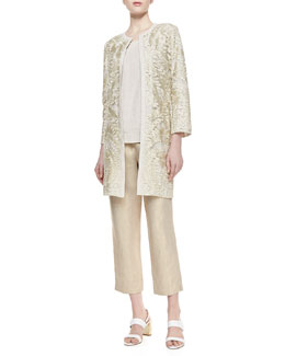 Neiman Marcus Special Occasion Embroidered Topper, Scoop-Neck Linen Tank & Linen Cropped Pants