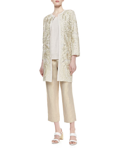 Special Occasion Embroidered Topper, Scoop-Neck Linen Tank & Linen Cropped Pants