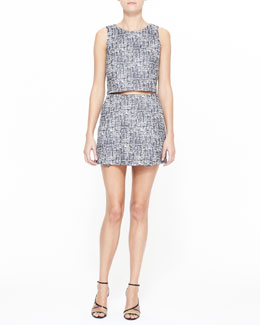 Joie Mintelle Sleeveless Crop Top & Tabby Printed Sateen Skirt