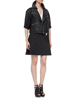 Thakoon Addition Gathered-Sleeve Bomber Jacket and Bicolor Pleated-Skirt Dress