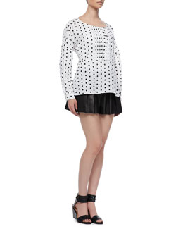 Thakoon Addition Bib-Front Circle Blouse and Fan-Pleated Leather Shorts